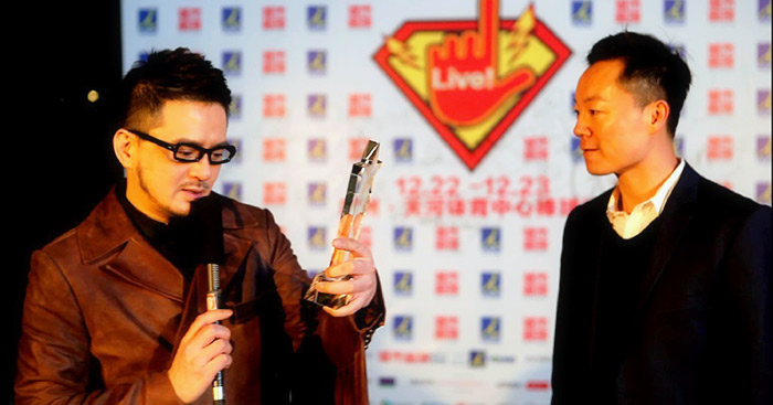 Anthony Wong giving Acceptance Speech